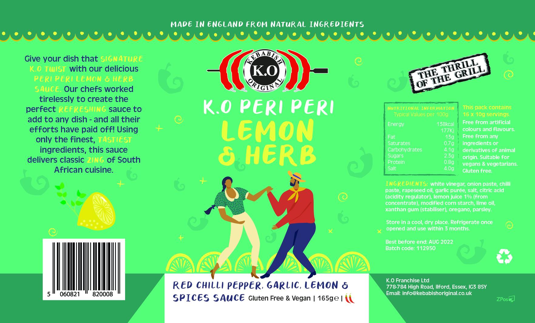 Peri Peri Lemon & Herb Bottle Label