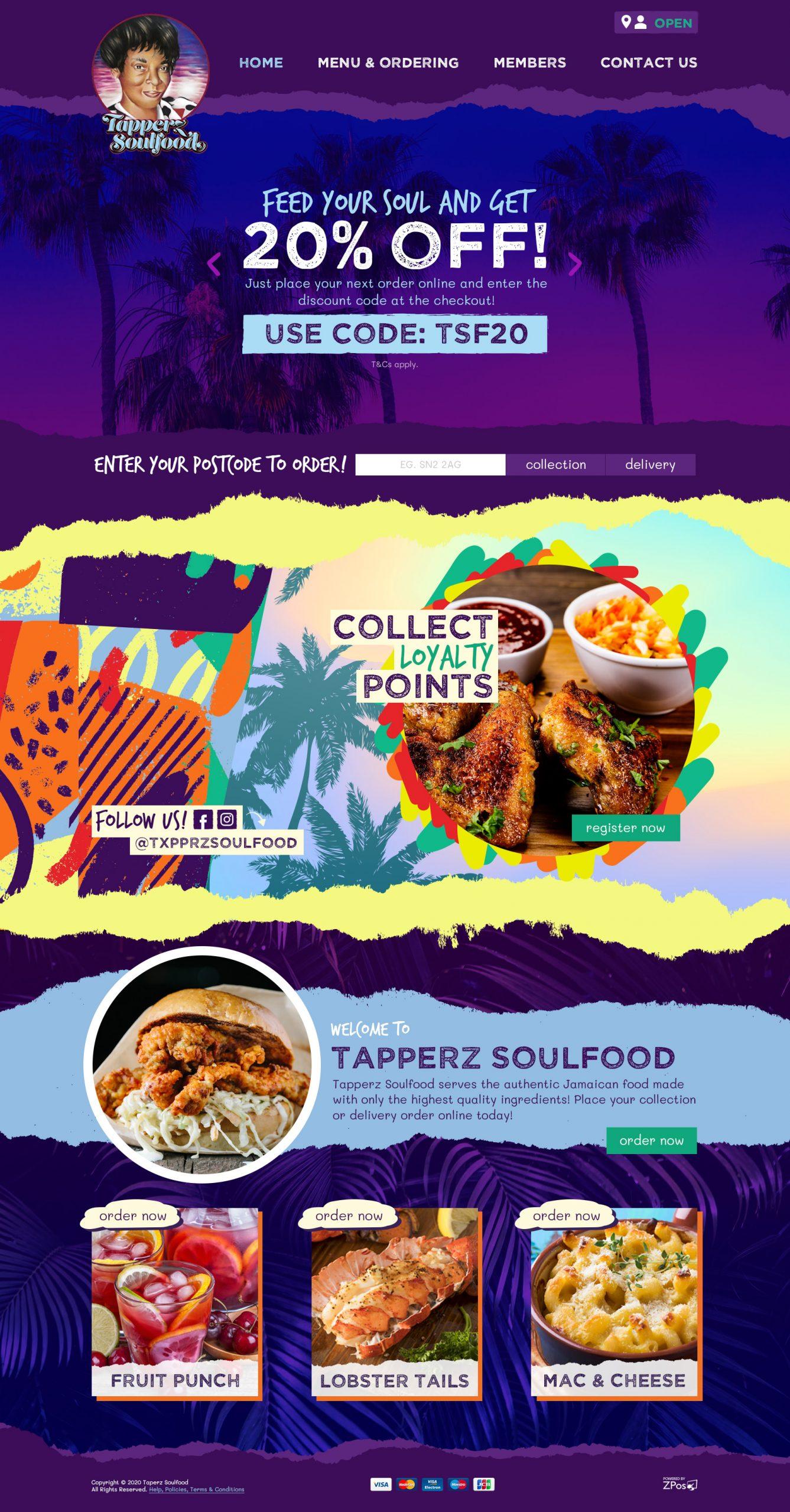 Tapperz Soulfood Website Design