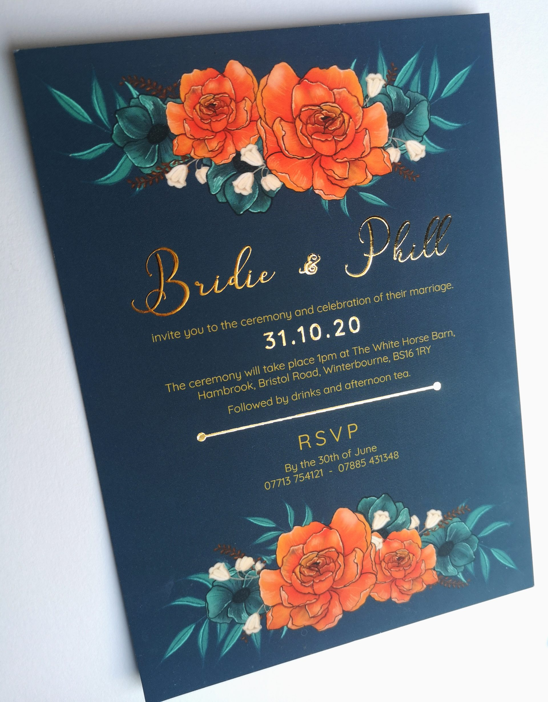 Wedding Day Invitations Gold Details